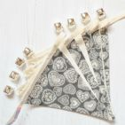 Embroidered Grey Heart 9 Pennant Cotton Bunting (Price inc P&P)